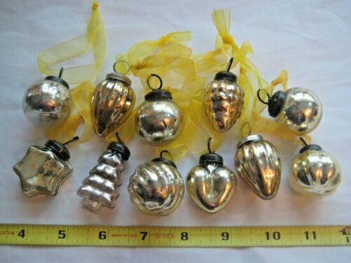 11 LIGHT GOLD  MERCURY GLASS CHRISTMAS PETITE MINIATURE ORNAMENTS KUGEL STYLE