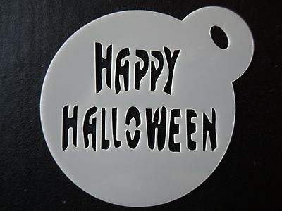 Laser cut small happy halloween design,cake,cookie,craft & face painting stencil - Happy Halloween Face Painting