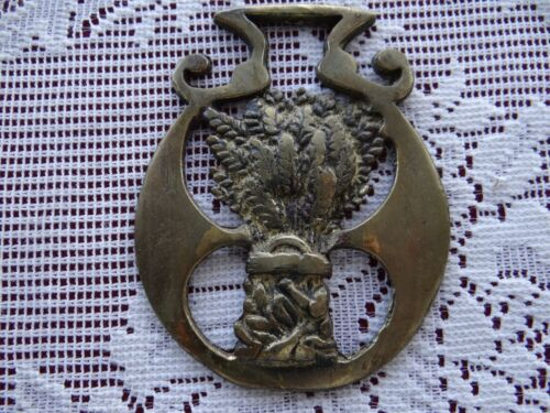 Vintage HORSE BRASS Saddle Bridle Medallion Ornament harvest WHEAT sheaf RARE