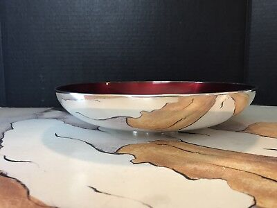Vintage E. Dragsted Silver Bowl With Red Enamel Inlay. 10 1/4