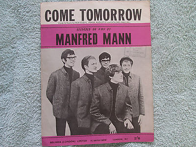 Manfre Mann COME TOMORROW   Sheet Music
