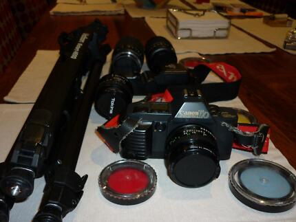 CANNON T70 SLR CAMERA WITH VARIOUS LENSES Gymea Sutherland Area Preview