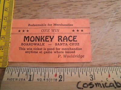Monkey Race Boardwalk Santa Cruz P Wooldridge One Win Ticket for prizes VINTAGE