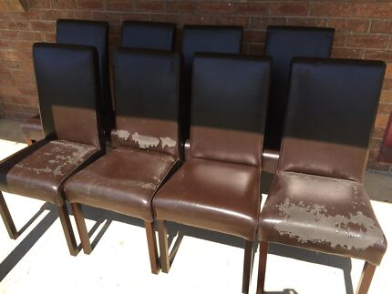 Leather dining chairs x 8 East Kurrajong Hawkesbury Area Preview