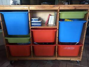 Solid timber toy storage unit with 8 storage tubs Gilmore Tuggeranong Preview