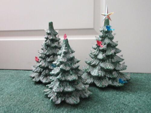 Vintage Nowells Molds Ceramic Christmas Tree Lot of 3 1977