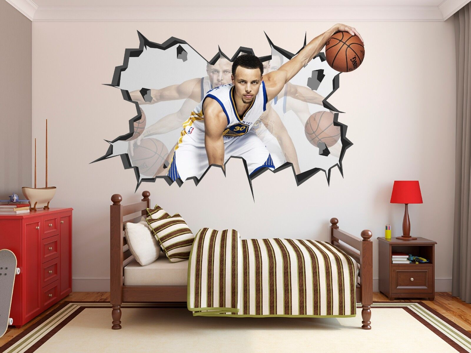 stephen curry wall hole 3d decal vinyl