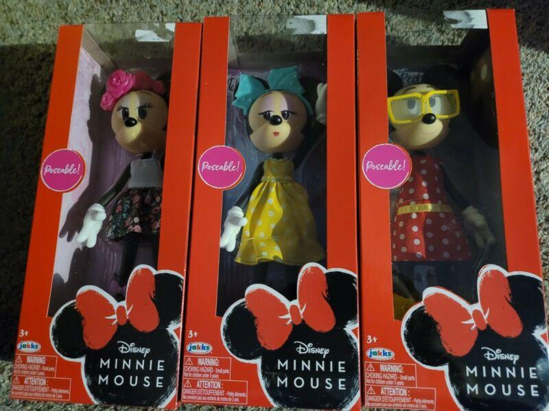 3 Disney Minnie Mouse Dolls Darling Dots Ravishing Red Fabulous Floral Jakks