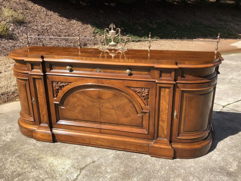 Karges Walnut Buffet With Burl Top.  Hand Carved.  Secret Pullout Drawers.