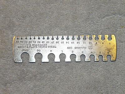 Vintage Brown Sharpe No 685 Us Standard Sheet Plate Iron Steel Gauge Inv