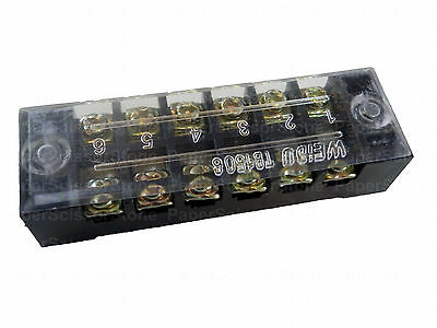 6 Way Position Power Distribution Terminal Block With Cover Up To 15a 600v