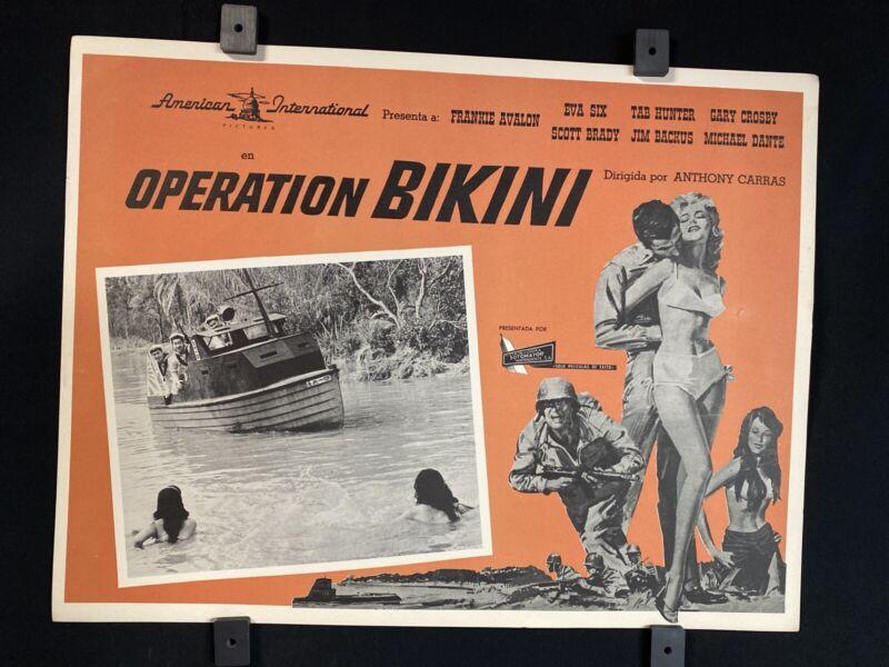 Vtg 1963~ FRANKIE AVALON~ TAB HUNTER~ Operation Bikini~ Orgnl MX Lobby Card