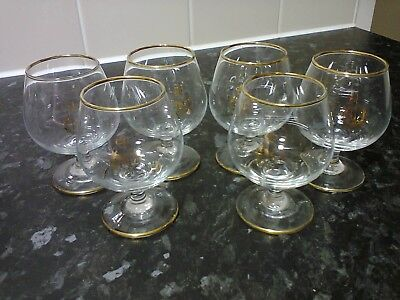 6 x Vintage Napoleon Snifters with gold-edge trim on rim, foot & frontlogo