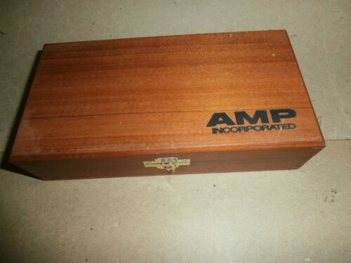 Vintage Wooden Box AMP Incorporated Locking Clip Board Assembly