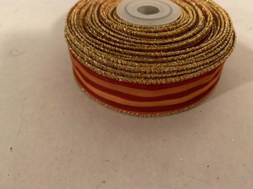 Mackenzie Childs Heirloom Stripe  1 inch Wire Edge Ribbon  10 Yards