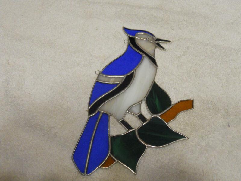 Blue Jay Bird Stained Glass Suncatcher