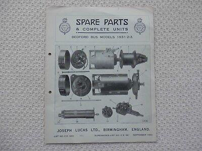 BEDFORD BUS MODELS 1931-32-33 LUCAS Parts List published September 1933