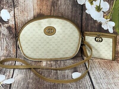 Vintage Gucci Beige Signature Monogram Crossbody Bag + Matching Wallet