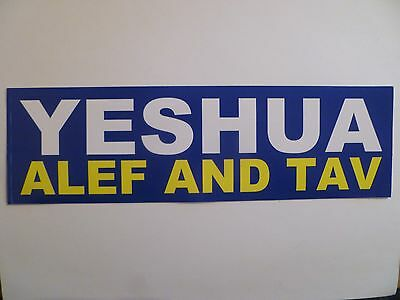 """YESHUA ALEF AND TAV"" 3"" X 10"" BUMPER STICKER-NEW!"