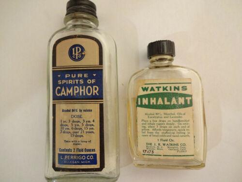 2 Vintage Paper Label Medicine Bottles Watkins Inhalant & L Perrigo Camphor