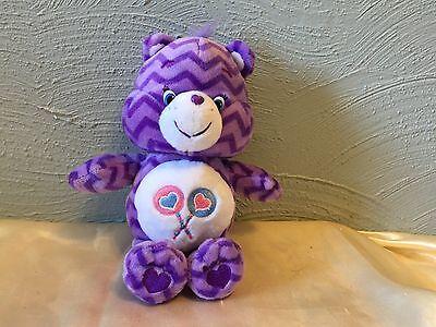 "Care Bears Share Bear Plush Purple Striped 8"" Plush Lollipop Hearts Stuffed"