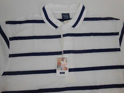 Gant Rugger Mens Designer White Blue Striped Polo Shirt Large Vintage NEW