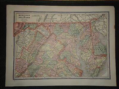 Vintage 1891 MARYLAND - DELAWARE MAP ~ Old Antique Original Atlas Map 100718