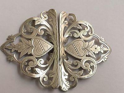 BEAUTIFUL VICTORIAN SOLID SILVER NURSE'S BELT BUCKLE HM 1898 ART NOUVEAU