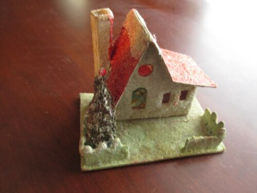 Vintage Christmas Decoration Mica Putz Paper Cardboard House and Tree Japan