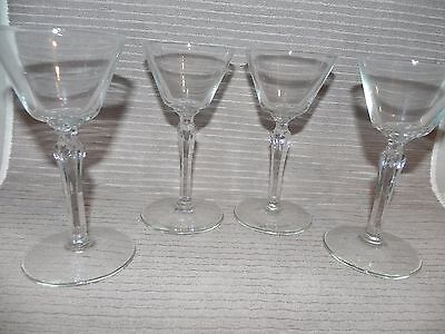 SET 4 BEAUTIFUL Clear Glass CORDIAL STEMMED GLASSES