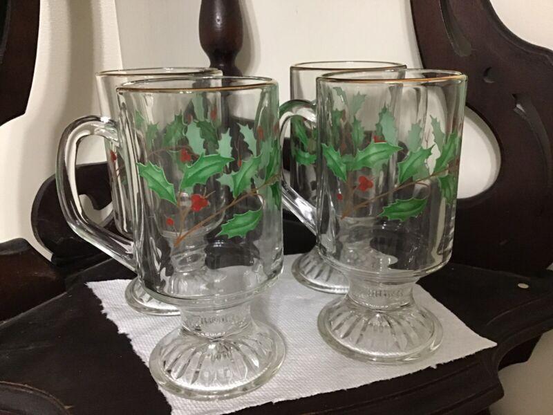 "4 VTG LENOX HOLIDAY DIMENSION 1998 IRISH COFFEE CLEAR GLASS 5 5/8"" MUGS"