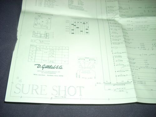 GOTTLIEB Sure Shot Pinball Schematic Original Complete 1975 VG+