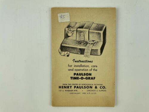 Paulson Time-O-Graf Instruction Manual, Softcover. 229H