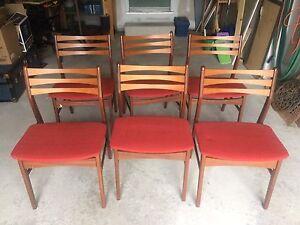 6 Danish Mid Century Modern Chairs MCM