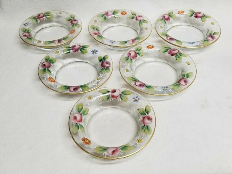 Set of 6 Antique Hand Painted Floral Enameled Rim Glass Bowls With Roses