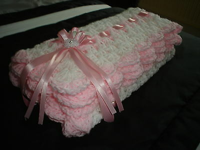 "hand crochet baby girls blanket car seat 26"" square WHITE/PINK *NEW*"