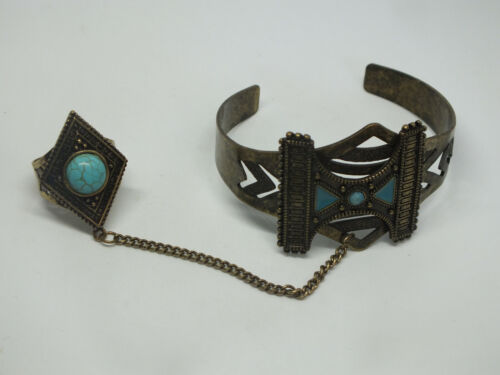 Beautiful Brass Tone Cocktail Ring w/Chained Bracelet Set Turquoise Enamel Cabs