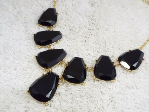 CHARMING CHARLIE Goldtone Black Acrylic Scoop Necklace (D78)