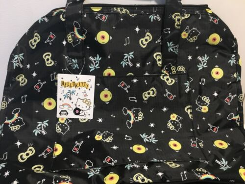 Sanrio Black Hello Kitty Duffle Boston Travel Bag Black