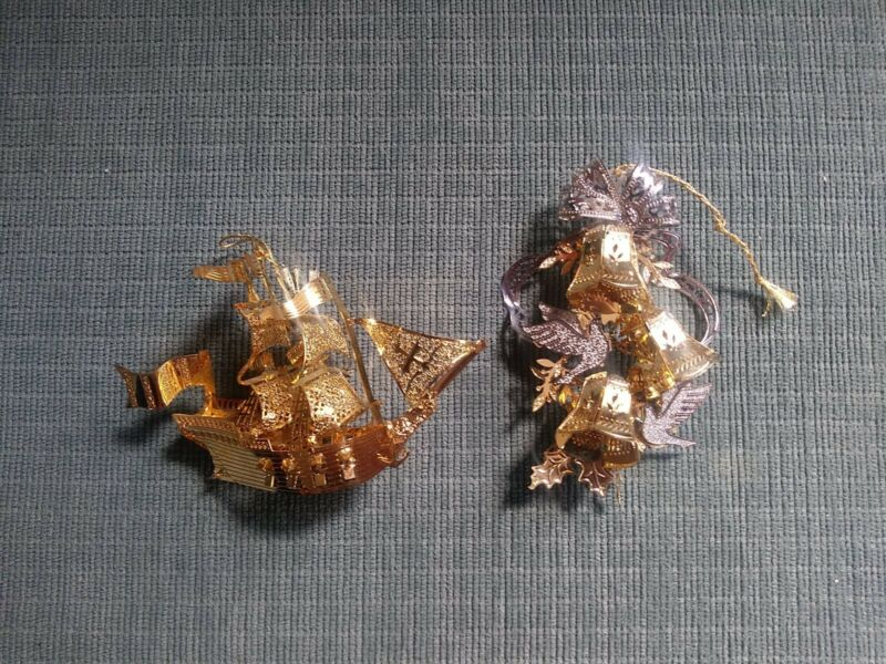 (2) Vintage Baldwin Brass Christmas Ornament Lot Pirate Ship & Stacked Bells