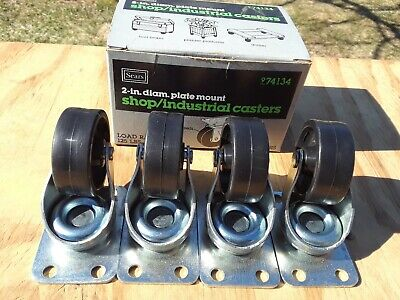 Nos Vintage Sears Shop Industrial Set Of 4 Swivel Plate 2 Casters Poly Wheels
