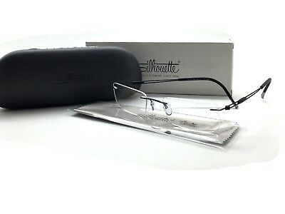 New SILHOUETTE Eyeglasses 5221 50 6060 51-19 140 Black 5227 Rimless Frame