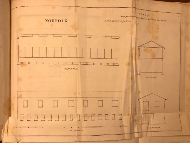 1848 Drawing: US Navy Norfolk, VA Plan Of Wing To Stable With Costs