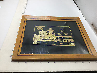 Vintage MALAY STRAW PICTURE - Framed - fook wah co. -- ART --