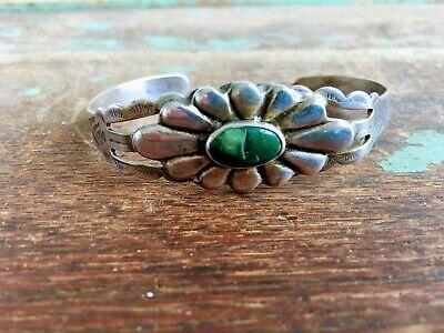 Vintage Native American Flower Cuff Bracelet Green Stone Stamped Arrows -