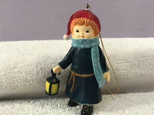 Christmas ornament Girl santa hat & blue robe w/lantern Wang