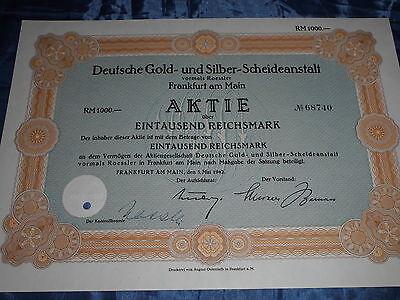 533 : histor. Wertpapier / Aktie , DEGUSSA , 1000 Reichsmark , 5. Mai 1942