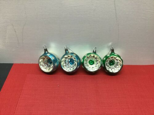 Lot 4 VINTAGE Antique INDENT Mercury GLASS  CHRISTMAS ORNAMENTS Czechoslovakia