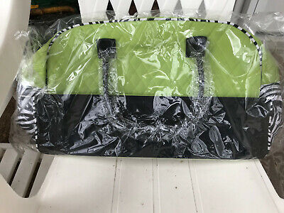 Lime Green Zebra - Weekender Duffel Bag Lime Green/Zebra Quilted easy care microfiber NEW WITH TAGS