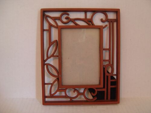 """BROWN METAL OPEN DESIGN AND GLASS PICTURE FRAME 7-7/8"""" X 6-½"""""""